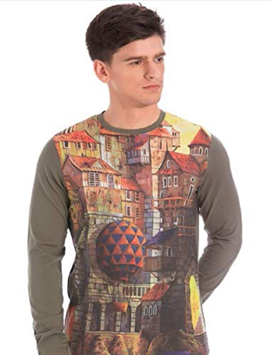 Marca Disati Multi Color Round Neck Printed Full Sleeve T-Shirt (Small) 5a57abd5577