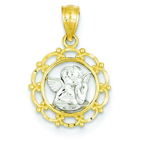 14K Two Tone Gold Cherub Charm Angel Pendant Jewelry (Angel Jewelry Satin Charm)