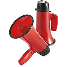 Vintage Red Megaphone Speaker with Built in Siren & Adjustable Volume Control