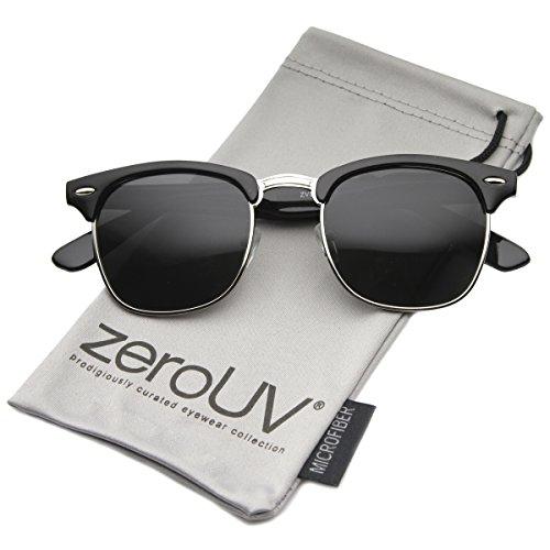 zeroUV Half Frame Semi-Rimless Horn Rimmed Sunglasses (Polarized | Black-Silver/Smoke)