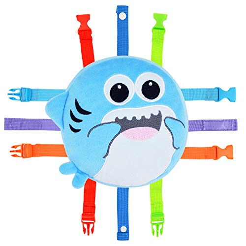 Toddler Early Learning Toy with Buckles, Self Adhesive Tape, Crinkle Paper and Numbers, Kids Cartoon Travel Toy, Preschool Toy for Developing Fine Motor Skills, Ideal Gift for Baby Boys Girls (Shark)