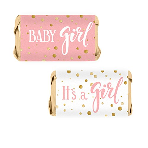 Pink and Gold It's a Girl Baby Shower Favor Miniatures Candy Bar Wrapper Stickers (54 Count) ()