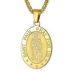 Faithheart Saint Paul Necklace Stainless Steel Catholic Patron Saint Medal Pendant Jewelry Gold Oval