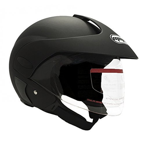 MMG Motorcycle Open Face Helmet DOT Street Legal - Flip Up Clear Visor - Matte Black 203 (Large)