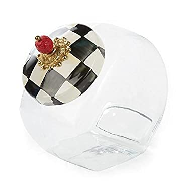 MacKenzie-Childs Cookie Jar With Courtly Check Enamel Lid 6  wide, 8  tall,