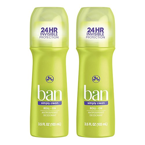 Ban Roll-On Antiperspirant Deodorant, Simply Clean, 3.5oz (Pack of 2)