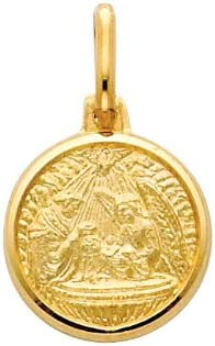 14k Yellow Gold Religious Baptism Medal Pendant with 1.2mm Cable Chain Necklace