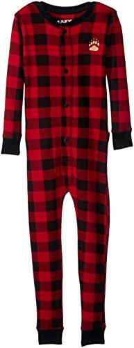 Plaid Bear Cheeks Flapjacks Kids Flapjack Onsie Pajamas by LazyOne | Adult Kid Infant Dog Family Matching Pajamas (4T)
