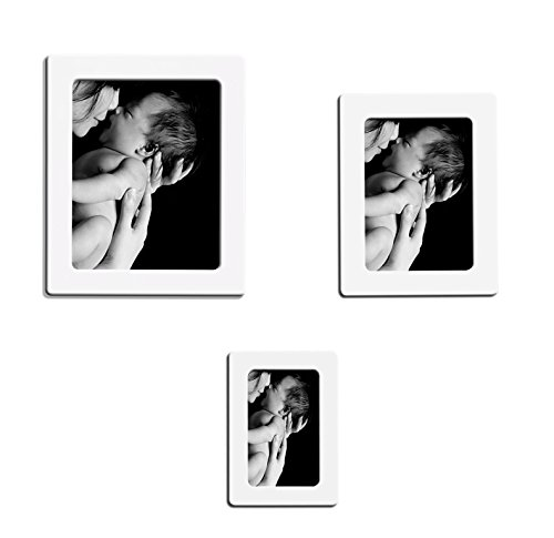Set of 15 pack Magnetic Picture Frame for Refrigerator Magnets 4'' x 6'', 5'' x 7'', 2.5'' x 3.5'', White, By Lubber