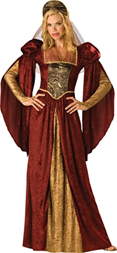 Queen Costumes Adult Renaissance Womens (InCharacter Costumes Women's Renaissance Maiden Costume, Burgundy/Gold,)
