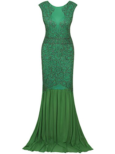 Vijiv 1920s Inspired Gatsby V Back Art Deco Beaded Maxi Evening Long Prom Dress,Green,Medium