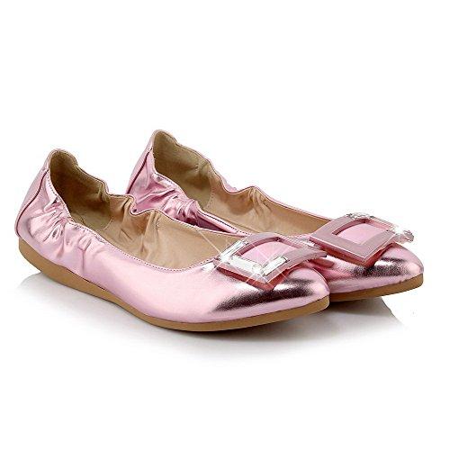 Allhqfashion Womens No-heel In Vernice Solido Pull-on In Pelle A Punta Chiusa Scarpe Piatte Rosa