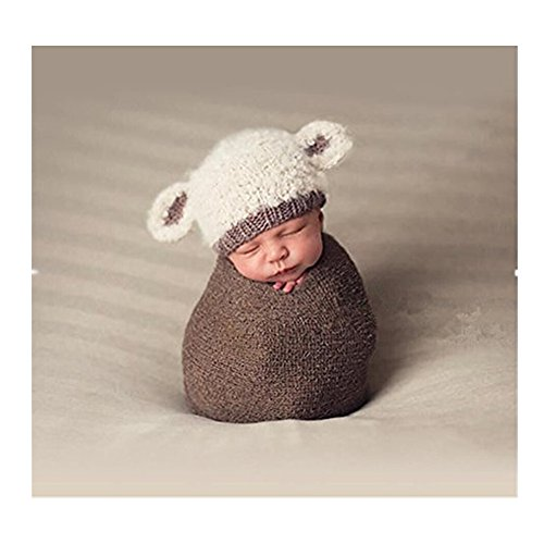 Fashion Cute Newborn Boy Girl Baby Costume Knitted Photography Props Lamb Hat Beige -