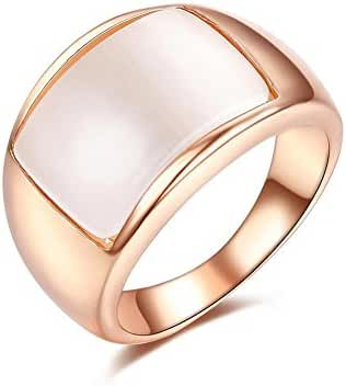 Redbarry Trendy Opal 12mm Unisex Wide Cocktail Thumb Ring Gold Plated for Women, Size 5.5 to 11