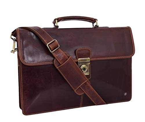 (Mens Slimline Genuine Leather Briefcase Brown Messenger Office Business Bag Carl)