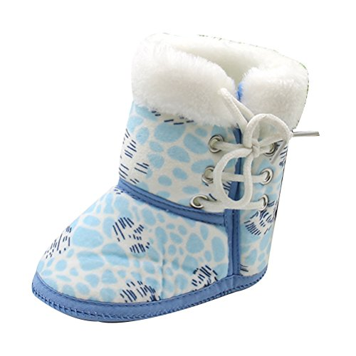Zhhlinyuan Unisex Bebé Winter Warm Soft Toddler Boots Shoes Infant Gift One Size Blue