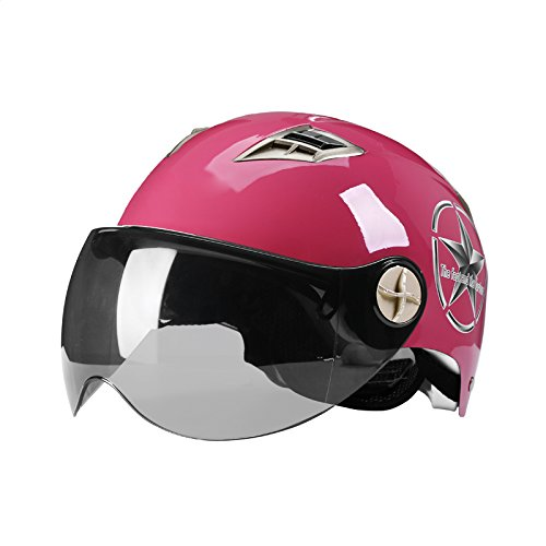 Helmet Motorcycles Men Women Spring Summer Sun Protection Lightweight Bicycling Safety Helmet Goggles Sun Protection (Color : Pink) by Moolo