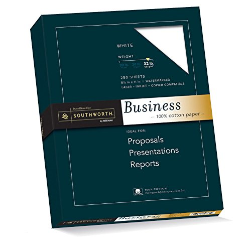 Southworth 100% Cotton Business Paper, 8.5 x 11 Inches, 32 lb, White, 250 per Box (JD18C) - 11