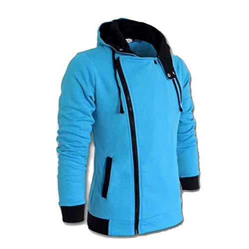 2019 Casual Cardigan Men Hoodie Sweatshirt Long Sleeved Slim Fit Male Zipper Hoodies Assassins Creed Jacket Plus Size M-6XL,XXXX-Large,LightBlue ()