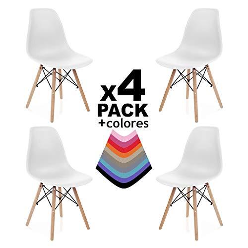 duehome (Nordik - Pack 4 sillas Color Blanco, Silla replica Blanca y Madera de Haya, Medidas: 47 cm Ancho x 56 cm Fondo x 81 cm Altura