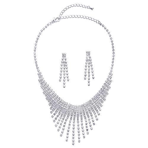 - COOLSTEELANDBEYOND Wedding Rhinestone Cluster Waterfall Chains Tassel Choker Collar Statement Necklace Earrings Set