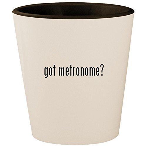 got metronome? - White Outer & Black Inner Ceramic 1.5oz Shot (Vintage Drum Practice Pad)