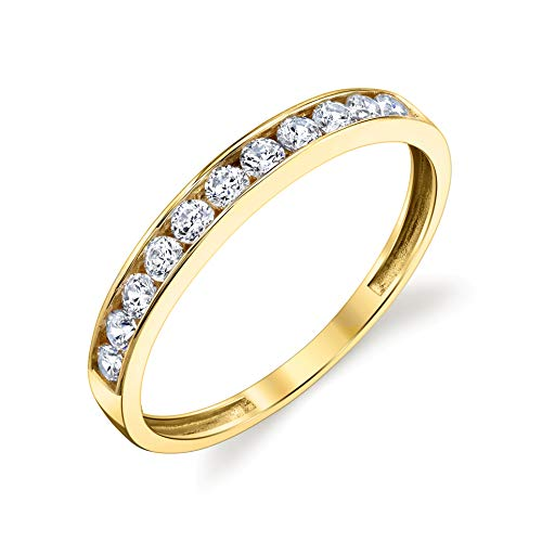 (Tesori & Co 10k Solid Yellow Gold Channel Wedding Band Ring Size)