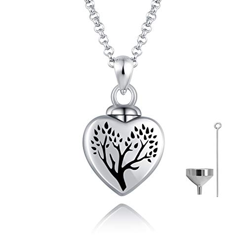 BEILIN 925 Sterling Silver Heart Cremation Jewelry Keepsake Urn Necklace for Ashes Forever in My Heart