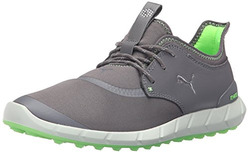 PUMA Men's Ignite Spikeless Sport Golf Shoe, Smoked Pearl Silver-Green Gecko, 8 Medium US