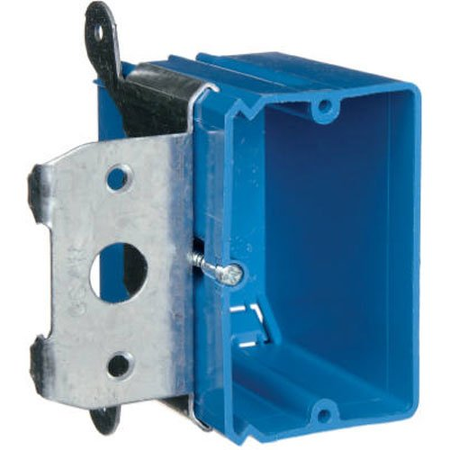 Adjustable Outlet - Carlon B121ADJ Outlet Box, New Work, 1 Gang, 3-3/4-Inch Length by 3-7/8-Inch Width by 3-3/8-Inch Depth, Blue