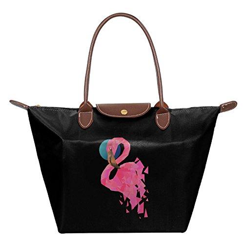 Ojinwangji Geometric Flamingo Waterproof Leather Folded Messenger Nylon Bag Dumplings Travel Tote Hopping Folding School Handbags Black ()