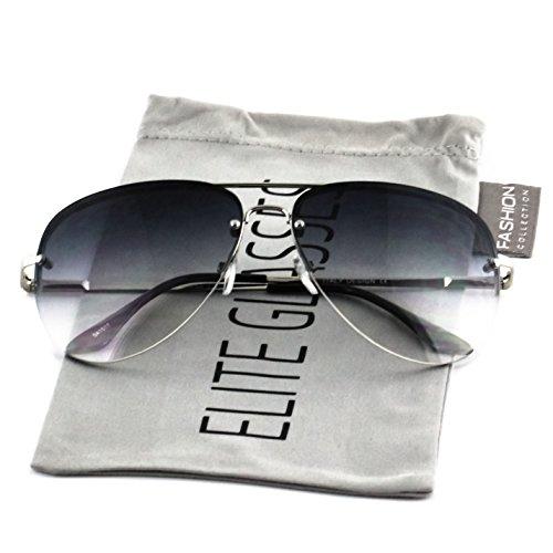 Rimless Metal Frame (Elite Gradient Oceanic Lens Oversized Rimless Metal Frame Unisex Aviator Sunglasses (Silver Frame/Smoke Lens, 2.5))