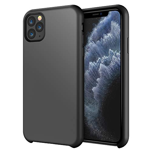 iPhone 11 Pro Case 5.8 inch FLOVEME Liquid Silicone Gel Rubber Soft Protective Mobile Phone Case Compatible with iPhone 11 Pro 2019 Soft Flannel Lining Shockproof Basic Phone Cover (Black) (Best Basic Cell Phone 2019)