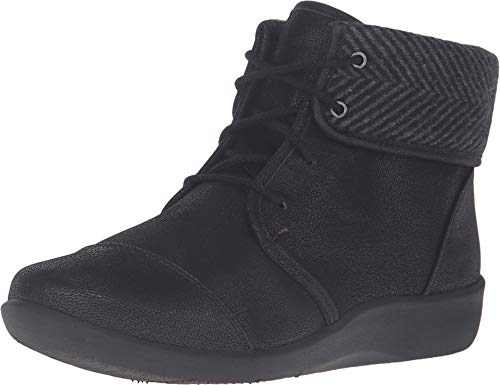 Clarks Women's Sillian Frey Boot, Black Synthetic Nubuck, 7 W US (Black Lace Up Ankle Boots With Heel)