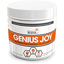 Genius Joy - Serotonin Mood Booster for Anxiety Relief, Wellness and Brain Support, Nootropic Dopamine Stack with SAM-E, Panax Ginseng and L-Theanine – Replace Antidepressants Naturally, 100 VCaps