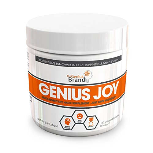 Genius Joy - Serotonin Mood Booster for Anxiety Relief, Wellness & Brain Support, Nootropic Dopamine Stack w/SAM-E, Panax Ginseng & L-Theanine – Natural Anti Stress & Herbal Calm, 100 Veggie (Dietary Supplement Brands)
