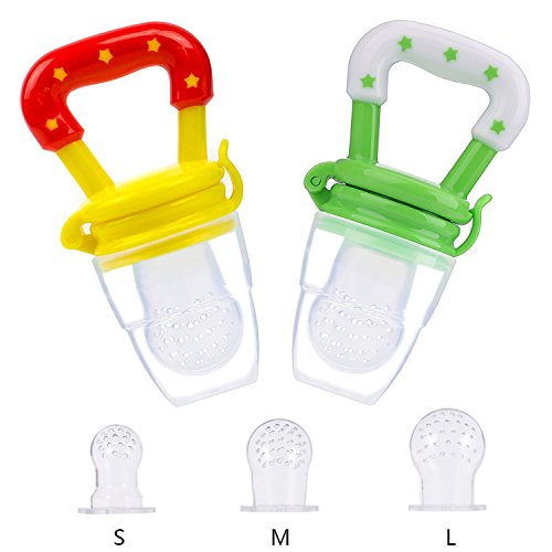 Baby Food Feeder, Fresh Fruit Feeder Net, Infant Teething Toy Nibbler Teether Pacifier with Silicone Pouches Nipple for Toddlers, 2 Pack