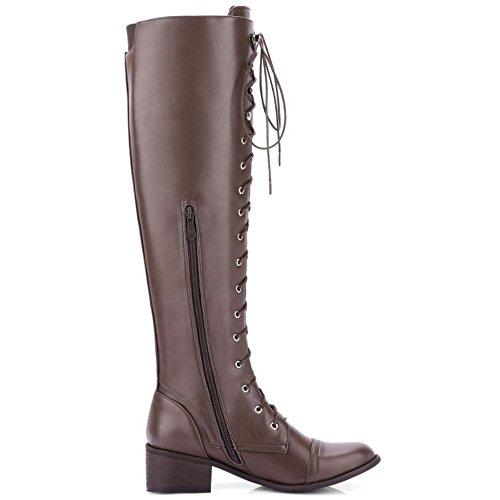 TAOFFEN Boots Zipper Long Brown Women's Western zzxwRHFqS