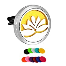 HooAMI Car Air Freshener Aromatherapy Essential Oil Diffuser - Lotus Flower 316L Surgical Stainless Steel Locket With Vent Clip