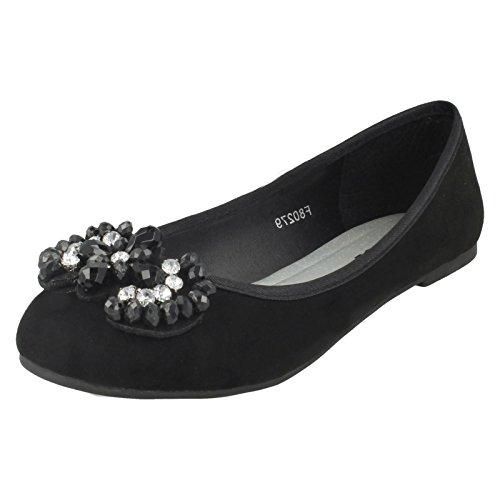 Spot On Ladies Jewel Trim Vamp Ballerinas Black VBq4BG