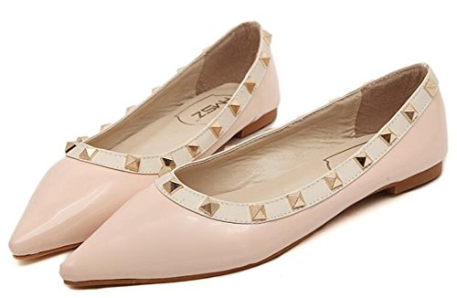 IDIFU Womens Unique Studded Pointed Toe Slip On Flats Shoes Pink DK7dzbMmJ8