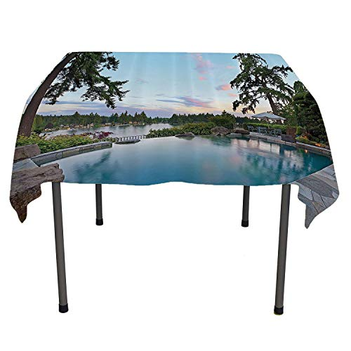 House Decor Collection Picnic Cloth Home Exterior Luxurious Outdoor Pool on Lake Alpine Trees Greenery Flowers Image Pattern All Weather Outdoor Table Cloth Spring/Summer/Party/Picnic 52 by -