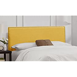 Skyline Furniture Nail Button Border Queen Headboard in Linen French Yellow