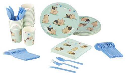 Disposable Dinnerware Set - Serves 24 - Dog Party Supplies for Kids Birthdays, Pugs Design, Includes Plastic Knives, Spoons, Forks, Paper Plates, Napkins, -