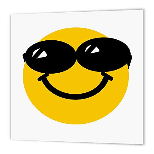 (3dRose ht_113113_3 Cool Smiley Face Sunglasses Confident Summery Cartoon Humor Fun Dude-Iron on Heat Transfer for Material, 10 by 10-Inch, White)