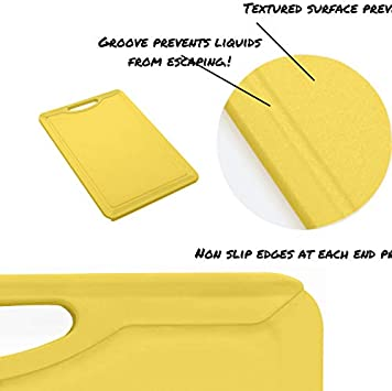 Vettore Non Slip Poly Cutting Boards With Juice Groove Dishwasher Safe BPA Free Plastic FDA Approved Rubber Feet 11 x 8, Solid Orange