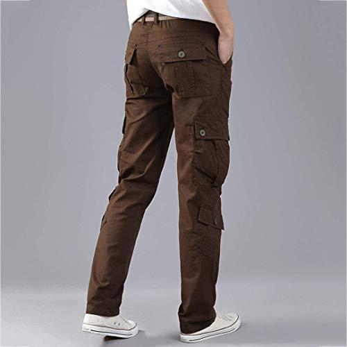 Trabajo Los Combat Sólido Pantalones Primavera Color Pocket Cómodo Kaffee De Ejército Cintura Battercake Cargo Hombres Multi Otoño Casuales HFgPwHBq