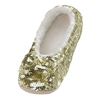 Snoozies Ballerina Bling Metallic Shine Women Slippers | Sequin House Slippers for Women | Slipper Socks with Grippers for Women | Cute Slippers for Women | Multiple Colors and Sizes: Shoes