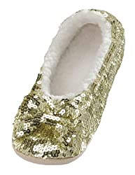 Metallic Sequin House Slippers for Women