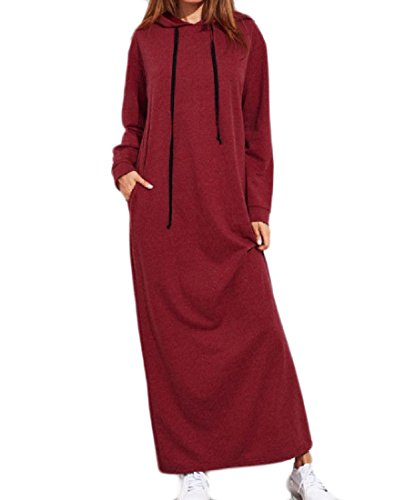 Women Slim Maxi Hood Pure Color Red Pullover Dress Coolred Wine Drawstring Beach BqOwBT